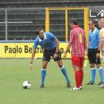 Fietta e Anzalone con il direttore di gara durante le prove di praticabilità del campo