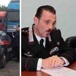 Un momento dell'operazione e il comandante provinciale Cozzolino affiancato dal comandante della compagnia di Cremona Truda in conferenza stampa