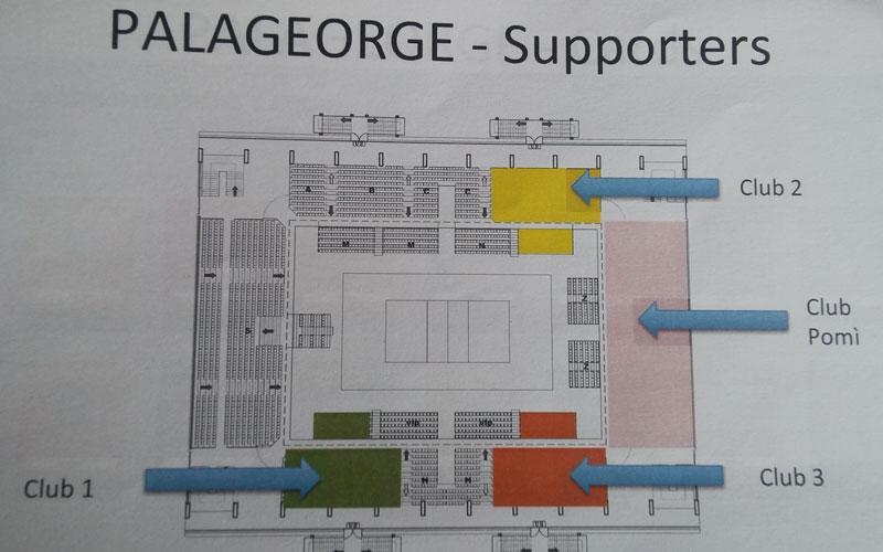 La cartina del PalaGeorge con lo spazio per le tifoserie